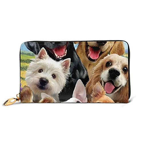 Lindo perro mascota impreso cuero cartera mujeres cremallera embrague bolsa viaje tarjeta de crédito titular monedero, Black (Negro) - Black-48