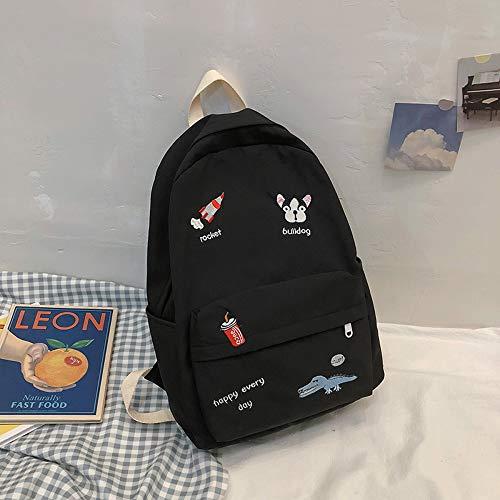 Schoolbag Large Capacity Campus Lightweight Backpack 41CM*30CM*12CM Black