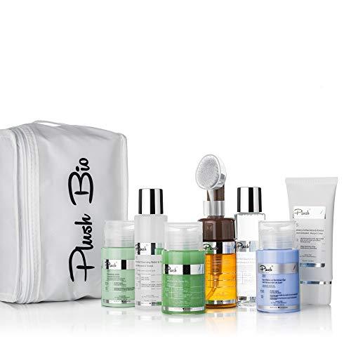 Plush luxuryBIOcosmetics - Kit voor vette reiniging - set van 5 producten + cadeau voor een thermische tas - make-up verwijderen, reinigen, ontgiften - huidtypes: vette huid