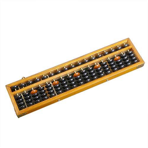 """17 Hastes de Madeira Abacus Soroban Japonês Japonês Chinês Calculadora Ferramenta de Contagem com Botão de Reiniciação 14"""" Estilo Vintage"""