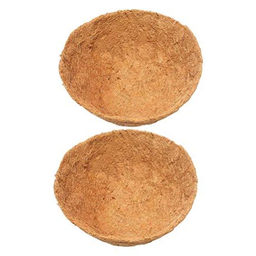 Yarnow 2 Pcs 40 Cm Fibre de Coco Panier Doublure Marron Coco Coco Doublure Ronde Fil Pots de Plantes (Brun Clair)