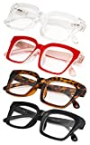 4-Pack Ladies Eyeglasses with Oversized Square Frame for Women Readers +1.75