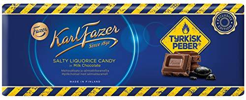 Karl Fazer Salty Liquorice Candy in Milk Chocolate mit Türkisch Pfeffer 250g