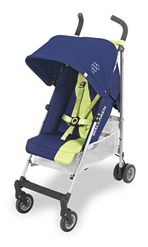 Maclaren Triumph lightweight compact umbrella stroller. Extendable and waterproof hood with UPF 50+ and reclining seat, all wheels suspension. Includes raincover. Medieval Blue/Limeade