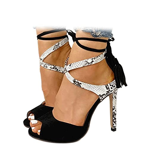Women's Stiletto High Heel Dress Sandals Party FashionTassel Summer Fine Open Toe Cross Strap Black Size 9.5