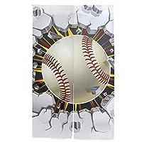 MASAI のれん 野球柄 おしゃれ 目隠し 突っ張り棒付き 86×143cm