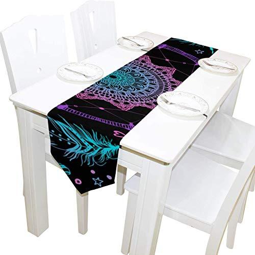 BONRI Indian Talisman Native Dreamcather Tocador Mantón Cubierta de Tela Runner Mantel Individual Cocina Comedor Sala de Estar Hogar Boda Banquete Decoración Interior , 13 * 70in,13 * 70in