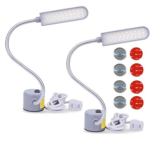 EVISWIY Sewing Machine Light LED Lighting (30LEDs) 6 Watt Multifunctional Flexible Gooseneck Arm Work Lamp with Magnetic Mounting Base for Workbench Lathe Drill Press 2 Pack
