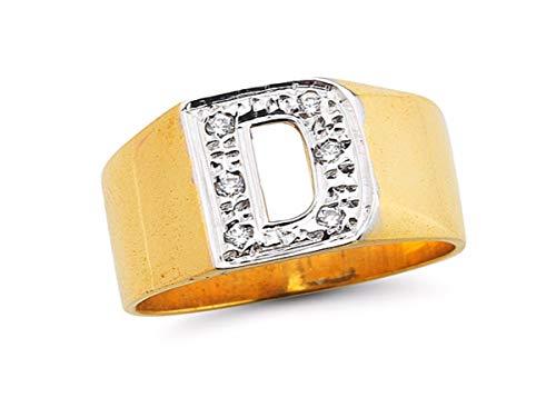 Diamond inicial personalizada (cualquier inicial) Anillo 8mm plata de ley o plata chapado en oro amarillo
