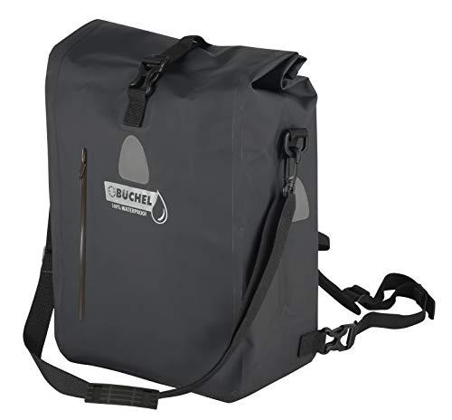 Büchel Gepäckträgertasche mit Rucksackfunktion, 100 % wasserdicht, mit Tragegurt und Vordertasche, verschiedene Farben