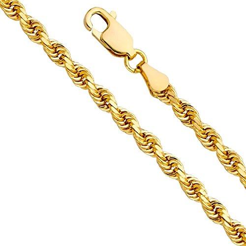 Collana in oro giallo 750, a 18carati, larghezza 5,50mm, catenina a corda, unisex e Oro giallo, colore: oro giallo, cod. corda160-18
