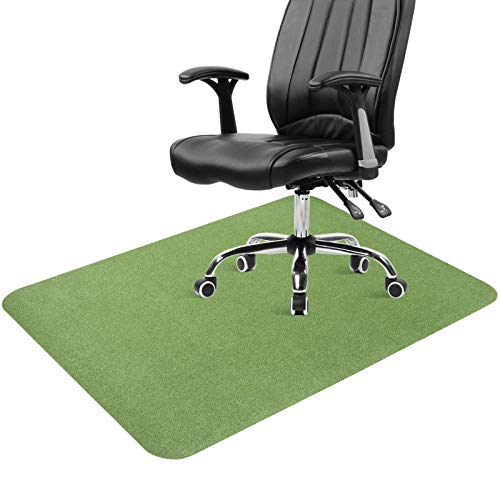 ANMINY Office Chair Mat Protector for Hard Floor Hardwood Tile Floor Under The Desk Rolling Chair Thick Mats Carpet Rug Green 47 x 35 inch - Strong Adhesive, Non-Slip, No Residue, Noise Reduction