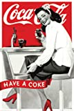 Hotstuff Coca Cola Have A Coke Poster Girl Sitting at Bar Retro Vintage Style 24'x36'