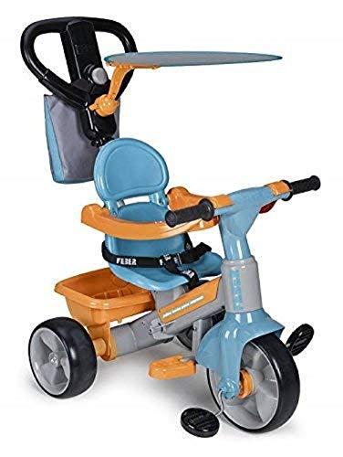 FEBER Famosa 800009614 - Evolutionäres Dreirad Baby plus Music Musikspielzeug für Mädchen von 9 Monaten bis 3 Jahren, blau