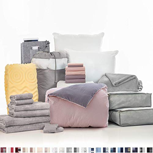 OCM College Dorm Room Essentials 24-Piece Complete Campus Pak, Twin XL, Bedding, Bath, Storage and More in Washed Pink & Grey, Incredibly Soft Washed Microfiber Comforter, Luxurious Touch, Reversible