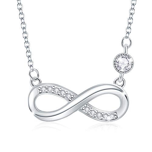 Tusuzik 925 Sterling Silver Love Infinity Necklace for Women Cubic Zirconia Heart Pendant Adjustable Necklace Jewellery Gifts