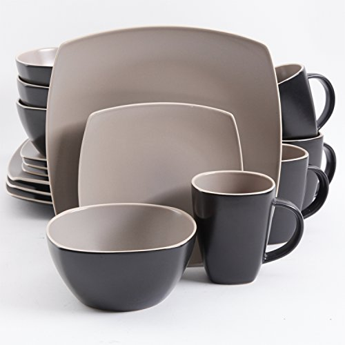 Gibson Overseas Gibson Home 102264.16RM Soho Lounge Square 16-Piece Dinnerware Set Service of 4, Stoneware, Taupe Matte