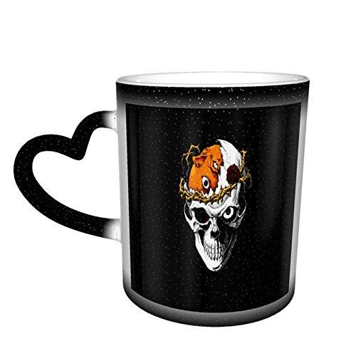 Taza que cambia de color del cielo estrellado unisex del cráneo malvado, taza de café de cerámica como regalo para cumpleaños, día del padre y día festivo, 11 oz