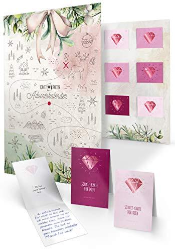 Schatz-Karten Adventskalender zum Ausfüllen für Erwachsene als Geschenk, 24 persönliche Botschaften, DIY Mappe zum Befüllen Verschenken für die beste Freundin (Edition Freundschaft