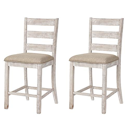 Signature Design By Ashley - Skempton Upholstered Barstool - Set of 2 - Ladder Back - Casual Style - Antique White