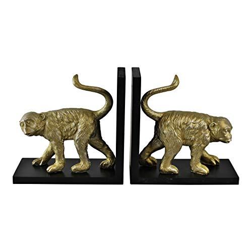 EliteKoopers 1 sujetalibros de mono dorado para decoración del hogar.