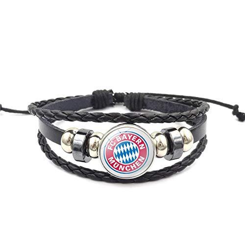 Ousyaah Bundesliga Fußball Abzeichen Armband Perlen Geflochten Leder Armreifen Fußball Sport Armband Verstellbare Kette