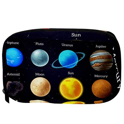 Bolsas de Maquillaje Estuche multifunción para Organizador de Bolsas de cosméticos de Viaje portátil CUERTO Cosmic Mars Mars Venus Planet Sun con Neceser con Cremallera para Mujer