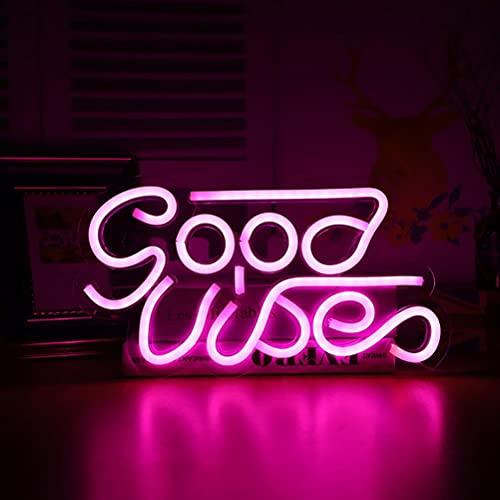 Prevessel Good Vibes Neon Sign Lights USB Powered LED luz decoración de pared habitación dormitorio lámpara restaurante cerveza bar fiesta pared decoración