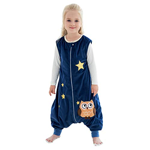 IDGIRLS Unisex Baby Sleeping Bag Spring Wearable Blanket with Legs for Toddler, Blue 3-5T
