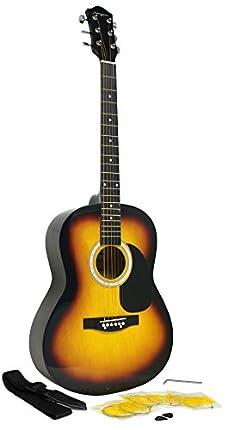 Guitarra Acústica de Martin Smith con Cuerdas de Guitarra, Púas de Guitarra y Correa de Guitarra - Resplandor solar
