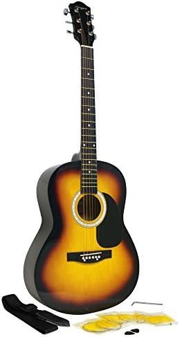 Martin Smith W-100-BK-PK Acoustic Guitar Kit with Guitar Strings Guitar Plectrums Guitar Strap Black