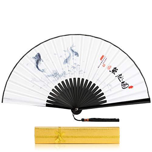 BingGoGo Hand Fan Mens Folding Hand Held Silk Fan,9'(23cm) Folding Fan,Chinese Style Classical Ink Silk Gift Handicraft Folding Fan,Gift Box Packaging