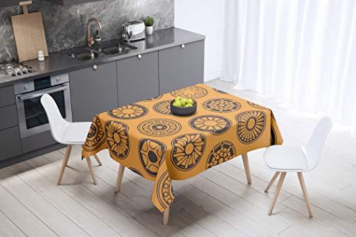 Bonamaison Flores Mandala Mantel Impermeable, Naranja, 140x140 Cm, 1 Unidad