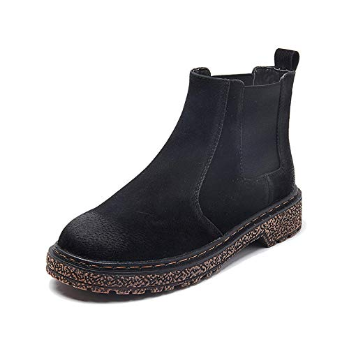 Naaien Ronde teen Womens Laarzen Enkel Korte Leer Vierkante Hak Mode Lage Vintage Laarzen Patchwork Winter Grote Maat Schoenen