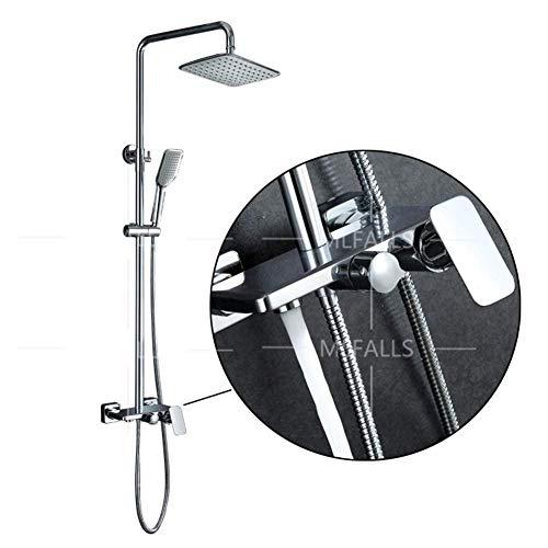 JINKEBIN Juego de ducha cromo baño ducha grifos set bañera ducha mezclador grifo con ganchos estante 3 vías mezclador ducha torneira grifo cromo