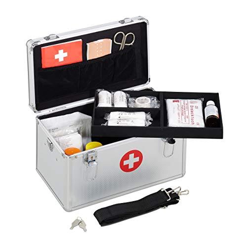 *Relaxdays Erste Hilfe Koffer, Verbandskasten Alu mit Tragegurt, leer, Medizinbox für Notfälle, HBT: 19x32x20 cm, silber*