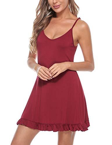 Doaraha Camisón Mujer Algodón Modal Suave Verano Corto Sexy Sin Manga Correas Ajustables Pijamas Camisones Camisolas Ropa de Dormir Vestido Ligero Mini Cami Dress (Vino Rojo, XL)