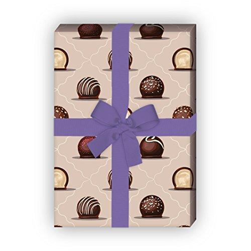 Kartenkaufrausch Delikates geschenkpapier set 4 vellen met chocolade bonines voor een leuke geschenkverpakking voor doop, geboorte, Pasen, verjaardag, bruiloft, Kerstmis 32 x 48 cm, beige roze