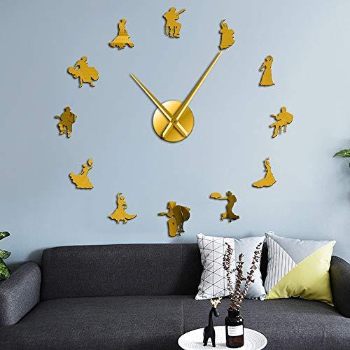 Reloj de pared con diseño de bailarines flamencos efecto espejo Big Time con silueta de bailarín español, reloj de pared grande, estudio de danza, decoración única de pared (oro、27 pulgadas)