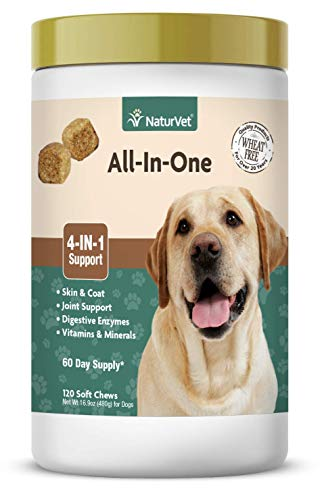 NaturVet – All-in-One Support – Helps Support Your Dog's Essential Needs & Overall Health – Digestion, Skin, Coat, Vitamins & Minerals, Joint Support – 120 Soft Chews