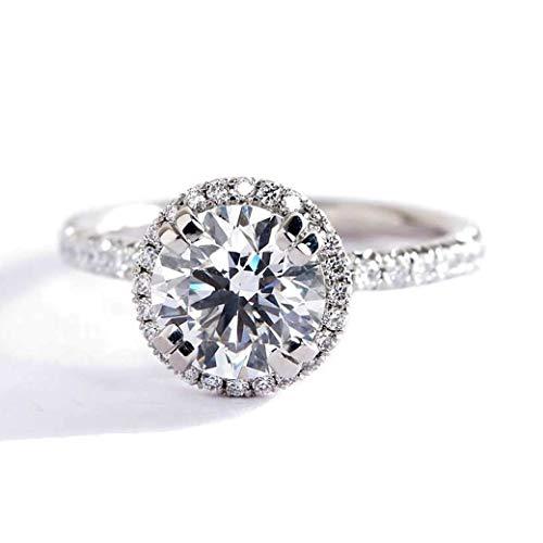 Anillo de compromiso con halo de diamantes de corte redondo SI2 F de 1,10 quilates con certificación GIA de corte redondo SI2 F de 1,10 quilates y oro blanco de 18 quilates