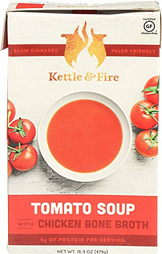 Tomato Soup with Chicken Bone Broth by Kettle and Fire, Pack of 2, Paleo, Gluten Free Collagen Soup on the Go, 9g of Protein, 16.2 fl oz