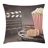 Hart.M Movie Theater Throw Pillow Cojín, Old Fashion Entertainment Objetos Relacionados con el Cine Film Reel Motion Picture, Decorativo Square Accent Pillow Case, 18 'X 18', Amarillo Blanco