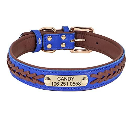 collar perros Collar de perro personalizado Personalizado Perrito Perrito Gato Cuello de placa de placa para pequeños perros grandes Grabados Cuello de etiqueta ajustable ( Color : Brown , Size : 2 )