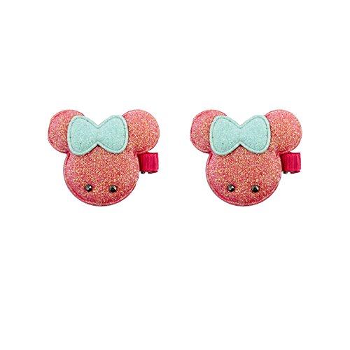 HAND® ein Paar schön gepolstert Minnie Mouse Hairclip Haarspangen mit Glitter und Bögen 7x5cm