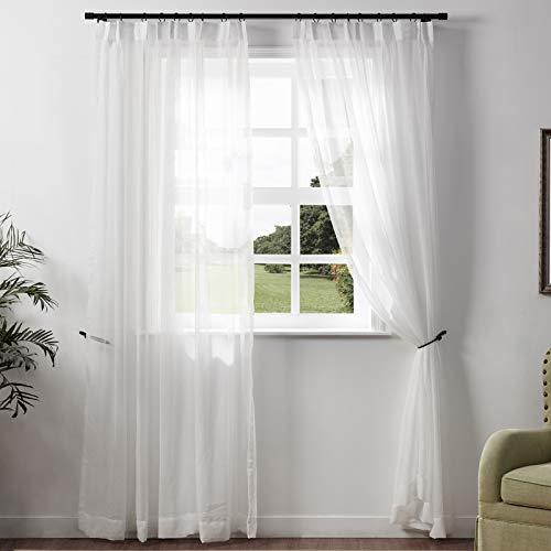 "ChadMade Natural Linen Sheer Curtain 84 Inch Long Pinch Pleat White Semi Sheer 50"" Wx84 L - Single Panel"