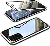 Funda para Samsung Galaxy A72 5G 360° cubierta magnética, cristal templado de doble cara transparente con parachoques de metal a prueba de golpes, diseño de una sola pieza, color plateado