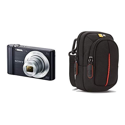 Sony DSC-W810B Appareil Photo Numérique Compact, 20,1 Mpix, Zoom Optique 6x- Noir & Case Logic DCB302K Housse en nylon pour Appareil photo compact compact Noir