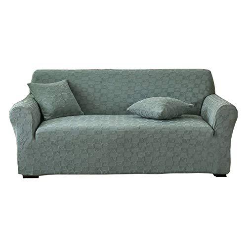 ZHFEL Funda elástica de sofá,Jacquard Cubre Sofa con Fondo elástico Protector para Muebles Antideslizante Universal Lavable Funda para sofá para Mascotas niños sillón-3 Plaza(74'-90')-Verde Claro