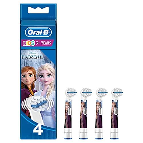 Oral-B Kids Cabezales de Recambio para Niños Mayores de 3 Años, Pack de 4 Recambios Originales con Personajes de Frozen para Cepillos de Dientes Eléctricos